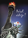 Cartoon: OBAMA   Nobel per la pace 2009 (small) by Grieco tagged grieco,obama,nobel,america