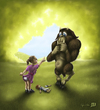 Cartoon: Bad Monster (small) by RyanNore tagged cartoon,girl,monster,woods,doll