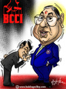 Cartoon: N srinivasan. BCCI president (small) by crowpoint tagged india,sachin,tendulkar,ian,bell,lillee,cricket,ashes,fast,bowling,bodyline,aussie,australia,england,clarke,urn,oval,bcci,godfather,don,kiss