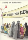 Cartoon: schritte zur integration (small) by Petra Kaster tagged burka,integration,frauen,marketing,religionen,islam,tolernaz
