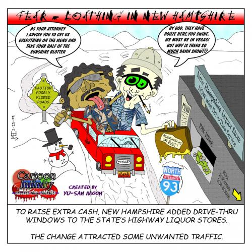 Cartoon: Fear and Loathing in NH (medium) by yusanmoon tagged fear,and,loathing,new,hampshire,yu,san,moon,cartoon,comic,funny,humor