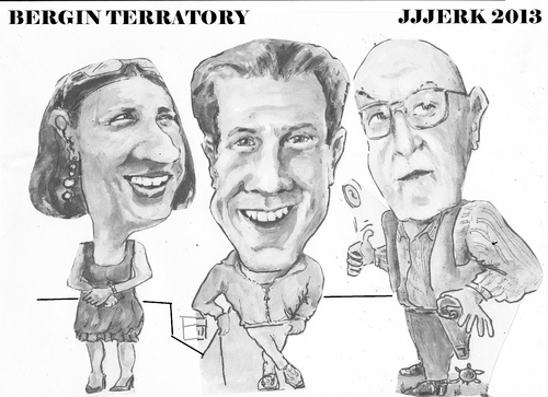 Cartoon: Bergin terratory (medium) by jjjerk tagged bergin,johanna,brian,cartoon,caricature,glasses,irish,trio,ireland
