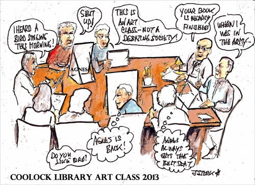 Cartoon: Coolock Library art class 2013 (medium) by jjjerk tagged coolock,library,art,group,ireland,irish,cartoon,caricature,artist,painter,drawing,table,debate,agnes,president