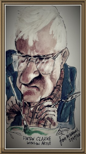 Cartoon: Fintan Clarke (medium) by jjjerk tagged famous,painter,glasses,ireland,wicklow,artist,fintan,clarke