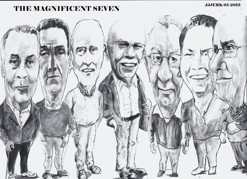Cartoon: Magnificent Seven (medium) by jjjerk tagged bell,art,group,darndale,cartoon,caricature,glasses,irish,ireland,artists,painters