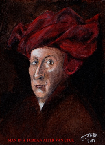 Cartoon: Man in a Turban (medium) by jjjerk tagged man,in,red,turban,after,van,eyck,cartoon,caricature,profile,famous,masterpiece,painting
