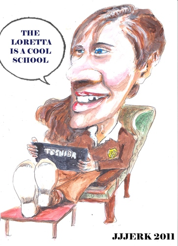 Cartoon: The Loretto is a cool school (medium) by jjjerk tagged loretto,schoiol,wexford,cartoon,caricature,toshiba,chair,uniform,cool