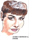 Cartoon: Audrey Hepburn (small) by jjjerk tagged audrey hepburn actress actor belgium france breakfast tiffannys portrait cartoon caricature red