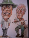 Cartoon: Charley and Tom (small) by jjjerk tagged tom,harpur,charley,molloy,fiddle,violin,musician,china,hat,duet