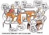 Cartoon: Coolock Library art class 2013 (small) by jjjerk tagged coolock library art group ireland irish cartoon caricature artist painter drawing table debate agnes president
