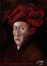 Cartoon: Man in a Turban (small) by jjjerk tagged man,in,red,turban,after,van,eyck,cartoon,caricature,profile,famous,masterpiece,painting
