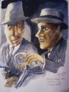 Cartoon: Roaring Twenties (small) by jjjerk tagged roaring,twenties,film,actors,gangsters,james,cagney,humphrey,bogart,cartoon,caricature