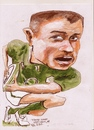 Cartoon: Tommy Bowe (small) by jjjerk tagged tommy bowe irish ireland osprey rugby ball cartoon green caricature guinness player