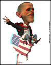 Cartoon: Barack Obama (small) by Silvio Vela tagged barack,obama,president,of,united,states,anaglyph,image,3d,stereo,caricature,cartoon,illustration,caricatures,silvio,vela