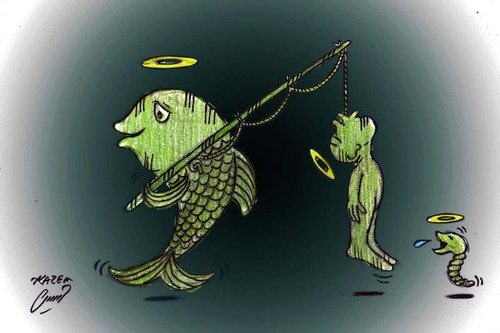 Cartoon: FISHERMAN AND FISH (medium) by Hossein Kazem tagged and,fisherman,fish