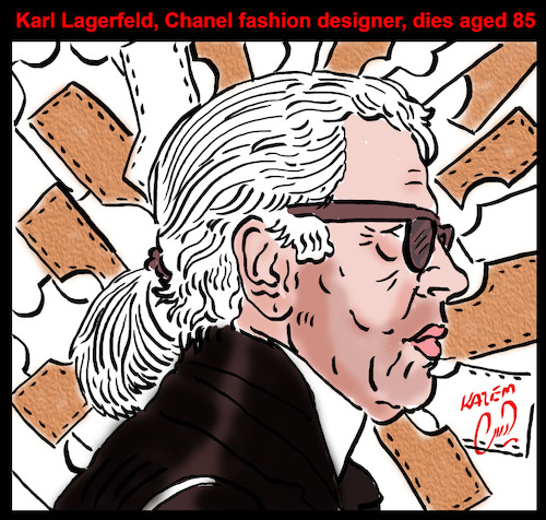 Cartoon: karl lagerfeld (medium) by Hossein Kazem tagged karl,lagerfeld