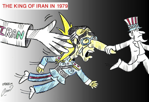 Cartoon: the king of iran in 1979 (medium) by Hossein Kazem tagged the,king,of,iran,in,1979