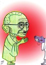 Cartoon: mahatma gandhi (small) by Hossein Kazem tagged mahatma gandhi