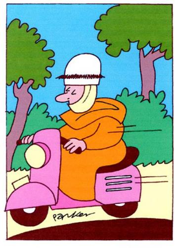 Cartoon: The Monk (medium) by Dave Parker tagged monk,religion,vespa