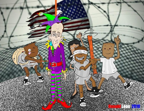 Cartoon: Anti - Anti Semitic PINATA (medium) by DaD O Matic tagged holocaust,trump,stephen,miller,concentration,camp,anti