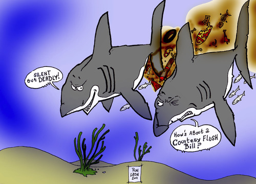 Cartoon: DUDE....REALLY.....PLEASE! (medium) by DaD O Matic tagged sharks,fart,poop,stink