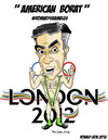 Cartoon: AMERICAN BORAT..Train wreck Tour (small) by DaD O Matic tagged romneyshambles,american,borat,twitter,hashtag,political,olympics