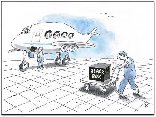 Cartoon: black box (medium) by penapai tagged plane,,black box,system,eingeschlossen,kiste,flugzeug,gepäck