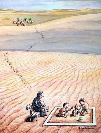 Cartoon: desert (medium) by penapai tagged child,play,sand,wüste,sand,sandkasten,kinder,spielen,kindheit