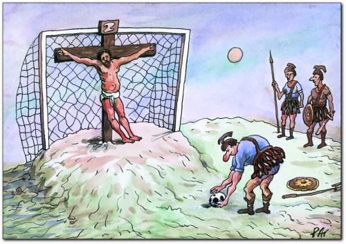 Cartoon: football (medium) by penapai tagged sport,jesus,römer,torwart,kreuzigung,spiel,religion,mobbing