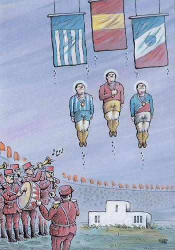 Cartoon: pride (medium) by penapai tagged flag,hymn,sportler,treppchen,podest,gewinner,medaille,stolz,sieger