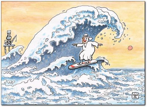 Cartoon: surfing (medium) by penapai tagged waves,,welle,kanagawa,öl,scheich,benzin,bohrinsel,surfen,surfbrett,wellenreiter,reichtum,wasser,ozean,meer,see,sport