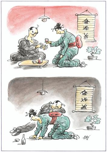 Cartoon: Thanks (medium) by penapai tagged bar,japanese,geisha,japan,service,kultur,tradition,sklave,schlafen,bett,unbequem,unterhaltung,beruf,job