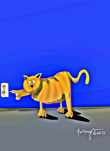 Cartoon: cat shock (medium) by tonyp tagged arp,arptoons,wacom,cartoons,cat
