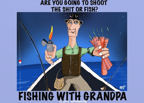 Cartoon: Fishing With Grandpa (medium) by tonyp tagged arp,grand,pa,fish,fishing,boat,tnt