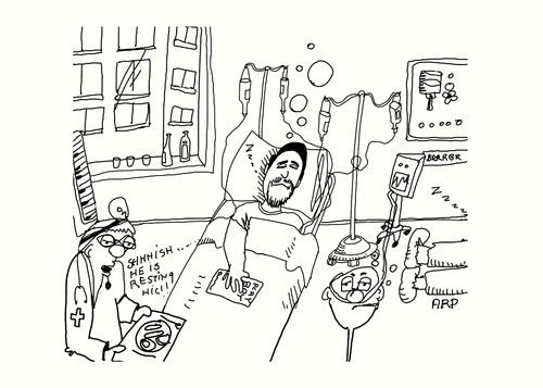 Cartoon: getting better (medium) by tonyp tagged arp,hospital,better,drinks,arptoons