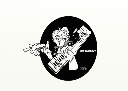 Cartoon: LEE GREGORY Song Writer (medium) by tonyp tagged arp,lee,gregory,key,board,writter