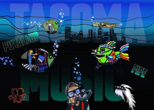 Cartoon: TACOMAMUSIC (medium) by tonyp tagged arp,seattle,tacoma,music