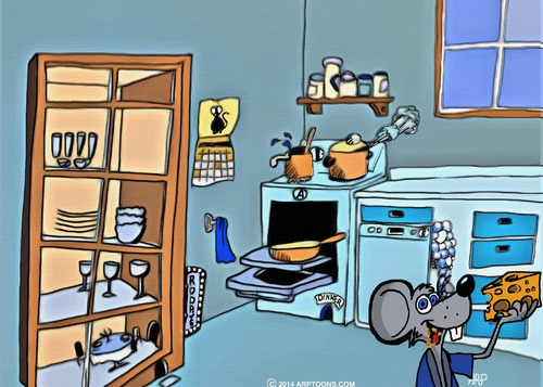 Cartoon: WHEN YOUR GONE (medium) by tonyp tagged arp,kitchen,mouse,mice,arptoons