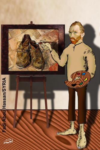 Cartoon: Van Gogh (medium) by Fadi tagged painter,painting,oil,canvas,van,gogh,artist,poverty,shoes