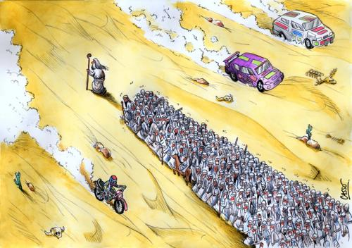 Cartoon: Rallye (medium) by Carlos Augusto tagged religion,faith
