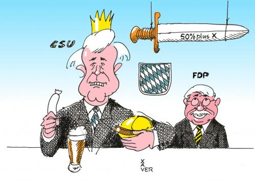 Cartoon: Bayern (medium) by xaver tagged bayern,csu,fdp,seehofer,zeil