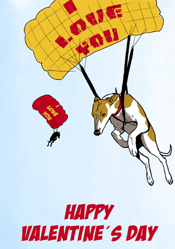 Cartoon: Fliegende Liebe (medium) by dogtari tagged cartoon,daily,dogtari,day,valentines,whippett
