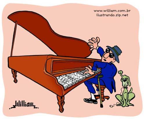 Cartoon Blind Pianist