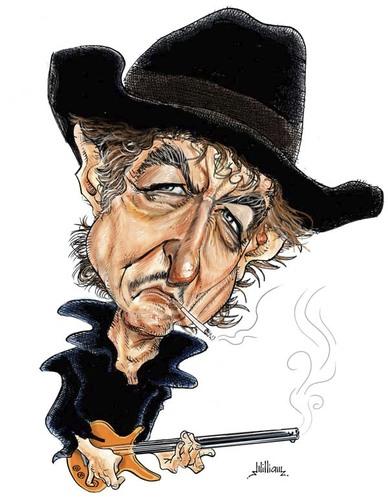 Cartoon: Bob Dylan (medium) by William  Medeiros tagged music
