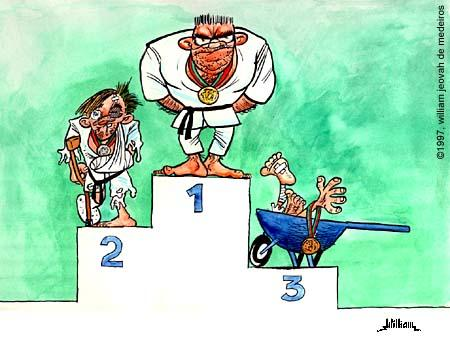 Cartoon: Podium (medium) by William Medeiros tagged judo,sport
