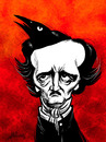 Cartoon: Edgar Allan Poe (small) by William Medeiros tagged horror,literature
