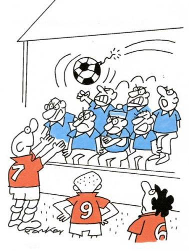 Cartoon: Bomb thrower in football crowd. (medium) by daveparker tagged bomb,footballers,