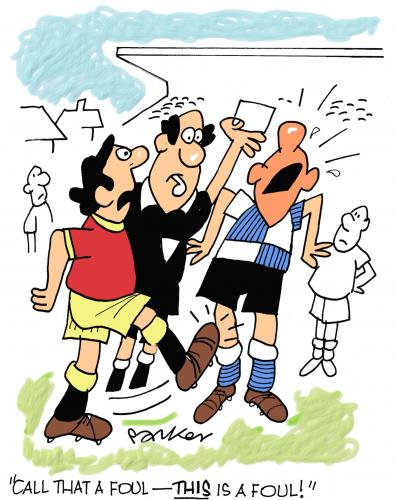 Cartoon: Foul play! (medium) by daveparker tagged footballers,ref,foul