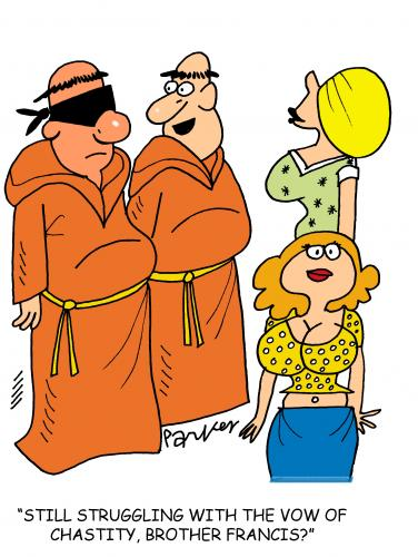 Cartoon: Vow of Chastity (medium) by daveparker tagged monks,sexy,girls,vow,hard,to,keep