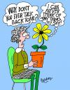 Cartoon: Dumb talking plant. (small) by daveparker tagged spinster,talking,plant,speechless